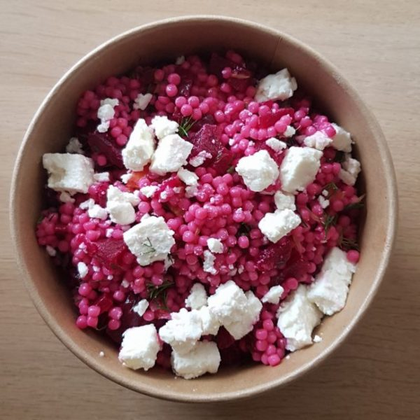 Israeli Couscous Beet and Feta Salad