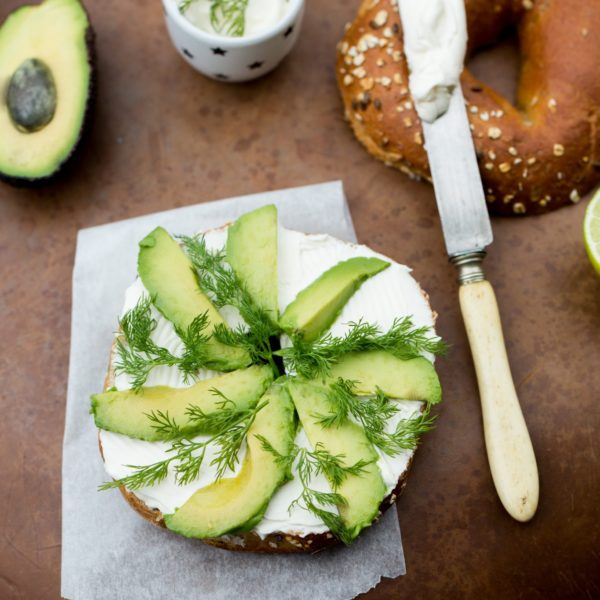 Cream Cheese Avocado Bagel